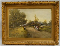 country lane with figures and cows by frank f. english