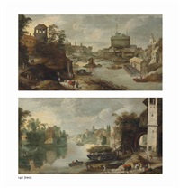 a view of the castel sant'angelo, rome from the tiber and an italianate river landscape with a tower and the ruins of a bridge (2 works) by philips de momper the younger