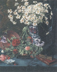 a vase of daisies with peonies and books on a draped table by gustave bienvetu