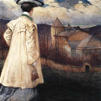 elegant lady by a country house by alfred keller