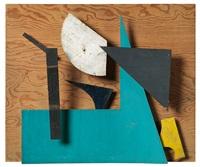 méta-mécanique - sprit - bleu ocre et vert - relief polychrome by jean tinguely