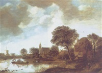 a river landscape with peasants in a ferry boat, other figures on a river bank, a bridge and a windmill beyond by gerrit van hees