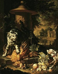 a cat protecting dead game from a dog, elegant figures in an architectural landscape beyond by dirk valkenburg