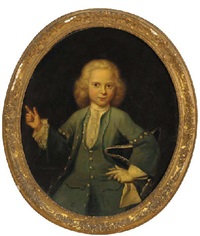 portrait of a boy in a blue coat and waistcoat, his hat under his left arm by jan maurits quinkhardt