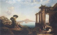 the castle of ischia, in the bay of naples, mount vesuvius beyond by thomas brabazon aylmer