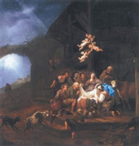 the adoration of the shepherds, with the annunciation to the shepherds on a hillside beyond by françois verwilt