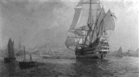 italian port view with an ornate galleon by john p. benson