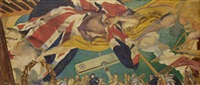 ceiling painting in the great hall of the institute of civil engineers (study) by charles sims