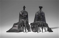 sitting figures in robes i by lynn chadwick