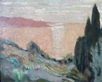bord de mer, coucher de soleil by françois albert quelvee