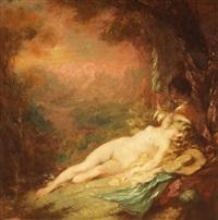 femme dénudée allongée charmée par un jeune flûtiste by louis anquetin