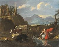 paesaggio con narciso by pier paolo (g.b. carracci) bonzi