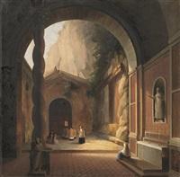 scorcio del cortile di un monastero by vincenzo abbati