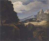 a mountainous landscape with travellers on a bridge, a church in the distance by francisco collantes
