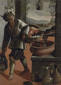 a peasant boy carrying a cockerel and a basket of eggs, meat and a duck, in an open interior, a mountainous landscape with a river and ruins beyond by vincenzo campi