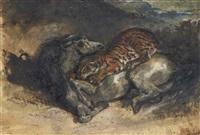 tigre attaquant un cheval by eugène delacroix