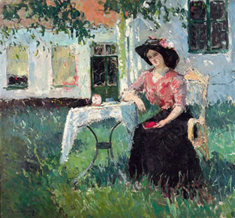 woman in the garden by adrien jean le mayeur de merprés