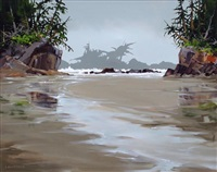 behind the surf (crystal cove near tofino) by allan dunfield