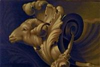 etude d'un élément de bronze en forme de tête de bouc by p. picot