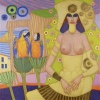 femme aux perroquets by jef van tuerenhout