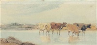 cattle watering, macao (+ a figure on a path at dusk, macao; 2 works) by george chinnery