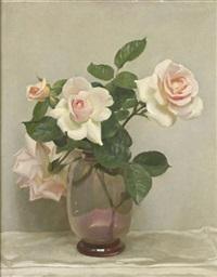 still life of pink roses by john bulloch souter