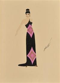 élégante en robe noir à empiecement rose by erté
