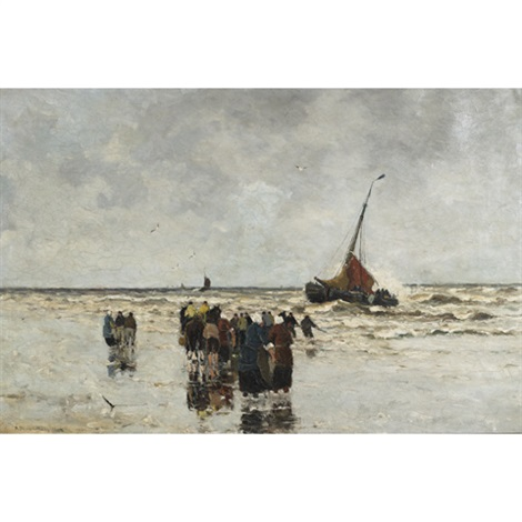 fisherfolk on the beach hauling in the days catch by gerhard arij ludwig morgenstjerne munthe