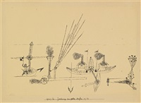 zeichnung zum gelben hafen (drawing for yellow harbor) by paul klee