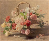 panier de roses rouges et blanches by henri biva