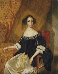 portrait of a lady (queen catherine of braganza?) in a black velvet bodice with pearls and a white satin dress by anglo-dutch school (17)