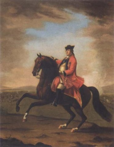 equestrian portrait of hrh william augustus duke of cumberland seated on his charger wearing uniform and the garter star a battle beyond by david morier