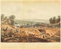 view of the excavated grounds, for the highgate-archway (after augustus pugin) by john hill