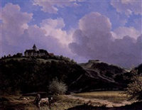 a landscape with a castle by adrianus van der koogh