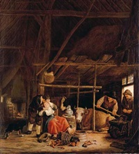 an amorous couple in a barn with herdsmen at the door by govert dircksz camphuysen