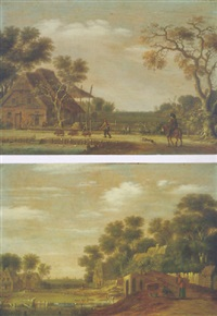 a village scene in the dutch countryside with a horseman and his dog, and a man driving three pigs past a cottage by rafael govaertsz camphuysen