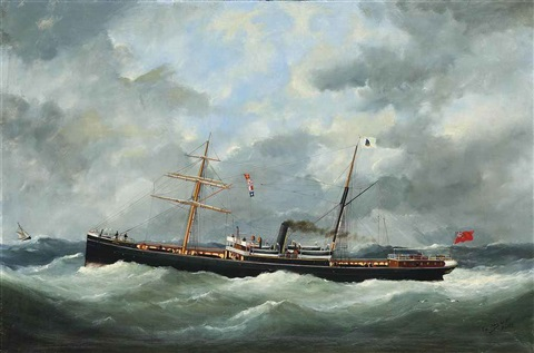 r bell cos steamship bothal in a heavy swell by marie edouard adam