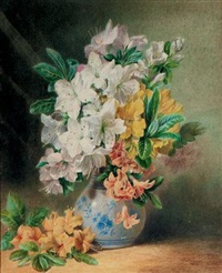 still-life with roses in a vase by valentine bartholomew