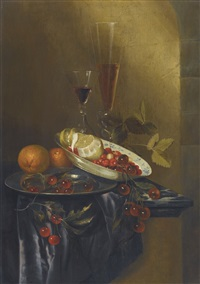 still life with cherries, lemons, fraises-de-bois, oranges and two fine wine glasses, all upon a marble table partly draped with a silk cloth by harmen loeding