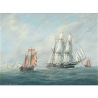 needles, isle of wight, barque and fishing boats off the coast by max parsons