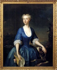 portrait of a lady in a blue dress, holding a hat (eleanor mytton?) by willem verelst