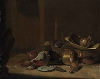 cabbages in a basket, a strainer and an earthenware jug in a wooden washtub on a barrel, with copper buckets, pots and pans... by pieter van steenwijck