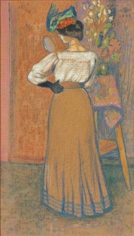 femme debout tenant un miroir by georges lemmen