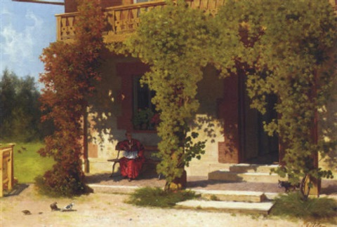 a cardinal on his terrace by auguste adam