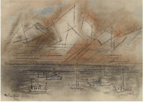 ships at sea by lyonel feininger