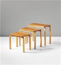 nesting café tables, model nos. 84, 85, 86 (set of 3) by alvar aalto