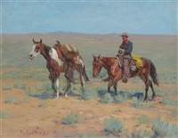 mounted cowboy and pack horse by richard lorenz