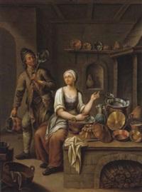 eine magd und ihr helfer in der küche by johann jakob mettenleiter