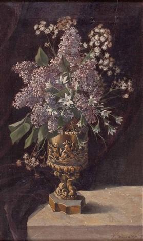 stillleben mit wiesenblumen und flieder in figural gestalteter vase by franziska baernreiter