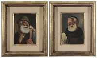 two genre portraits of older german men: friar smoking; man with axe (2 works) by fritz muller
